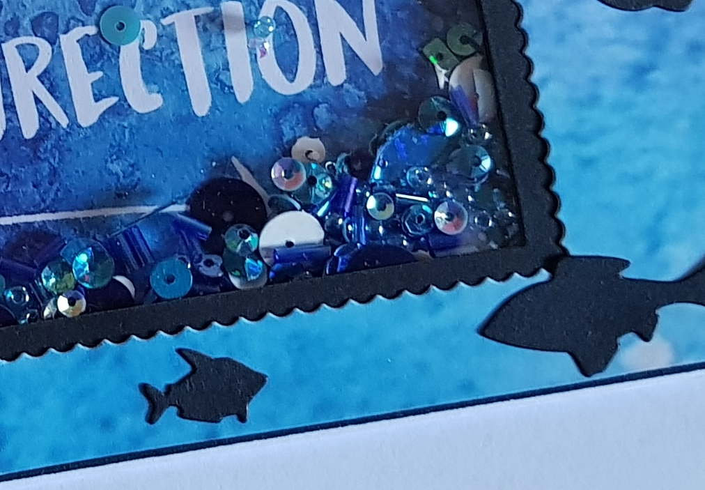 today ive been dipping into my blue christmas through the letterbox craft box to create a shaker card with a sea theme its always a bonus when your